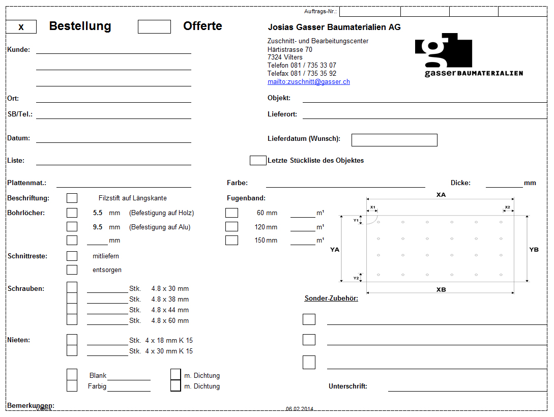 Bestellformular Excel – Josias Gasser Baumaterialien AG